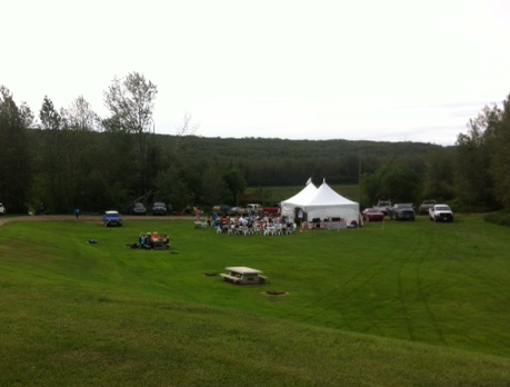 Looking down on the brunch tent and happy paddlers...
